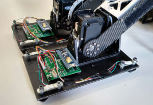 The feet of our robot with sensors on top.